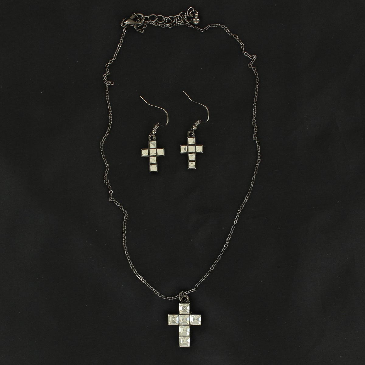 Blazin Roxx Square Crystal Cross Jewelry Set