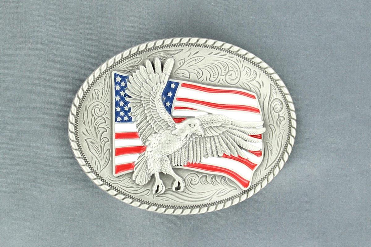 Nocona Oval Eagle/Flag Buckle