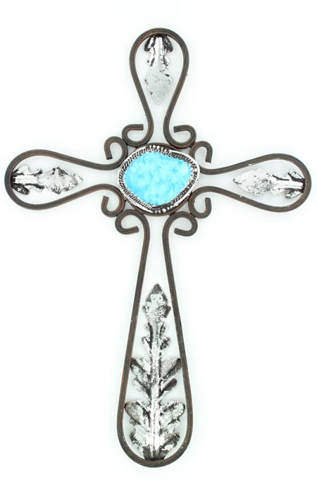 Western Moments Metal Cross with Stone