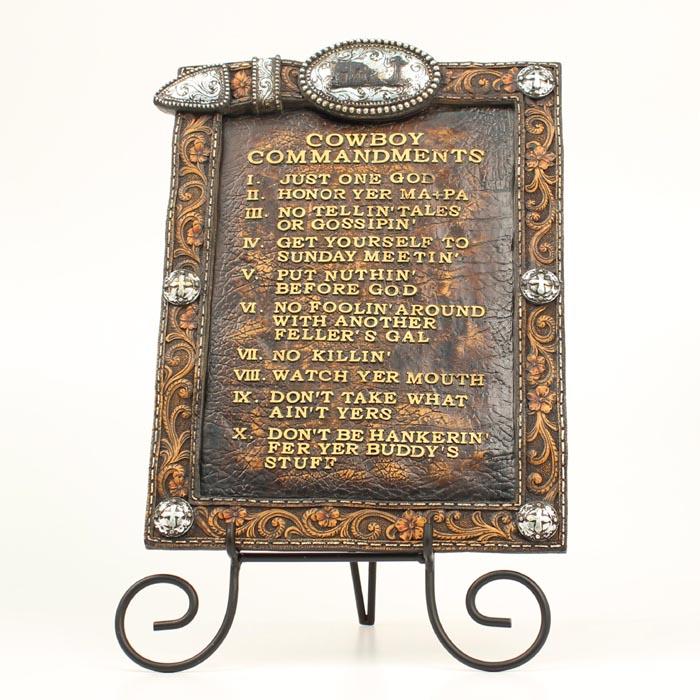Western Moments Cowboy Commandments/Easel