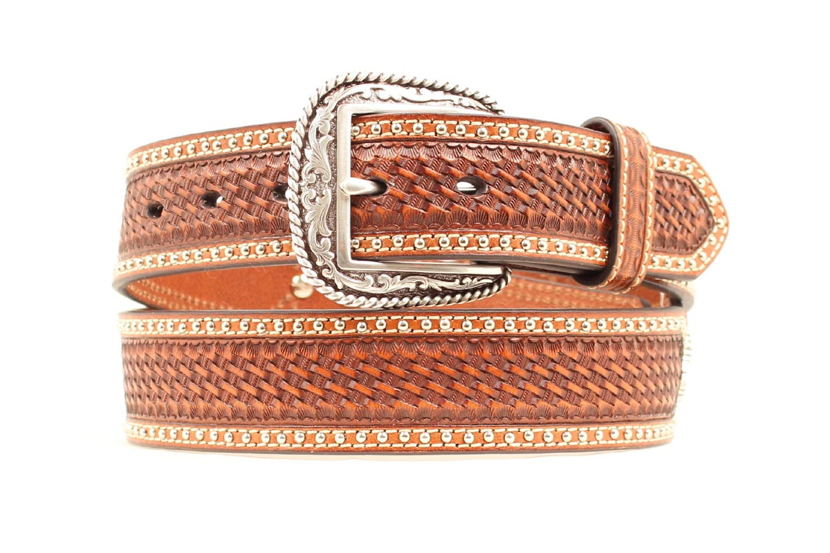 ARIAT Men's Basketweave Ostrich Scallop Inlay Belt