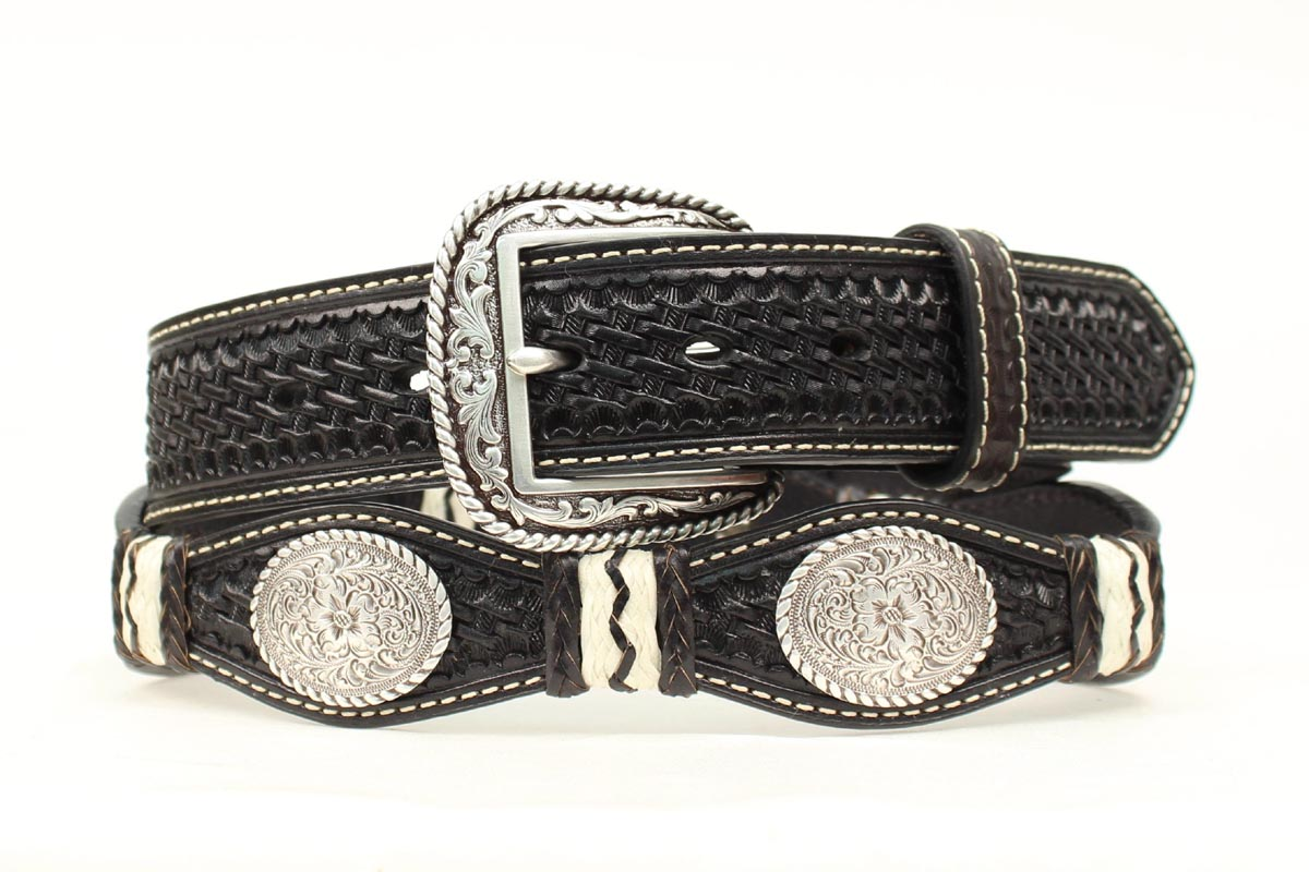 ARIAT Men's Scallop Oval Floral Concho Belt
