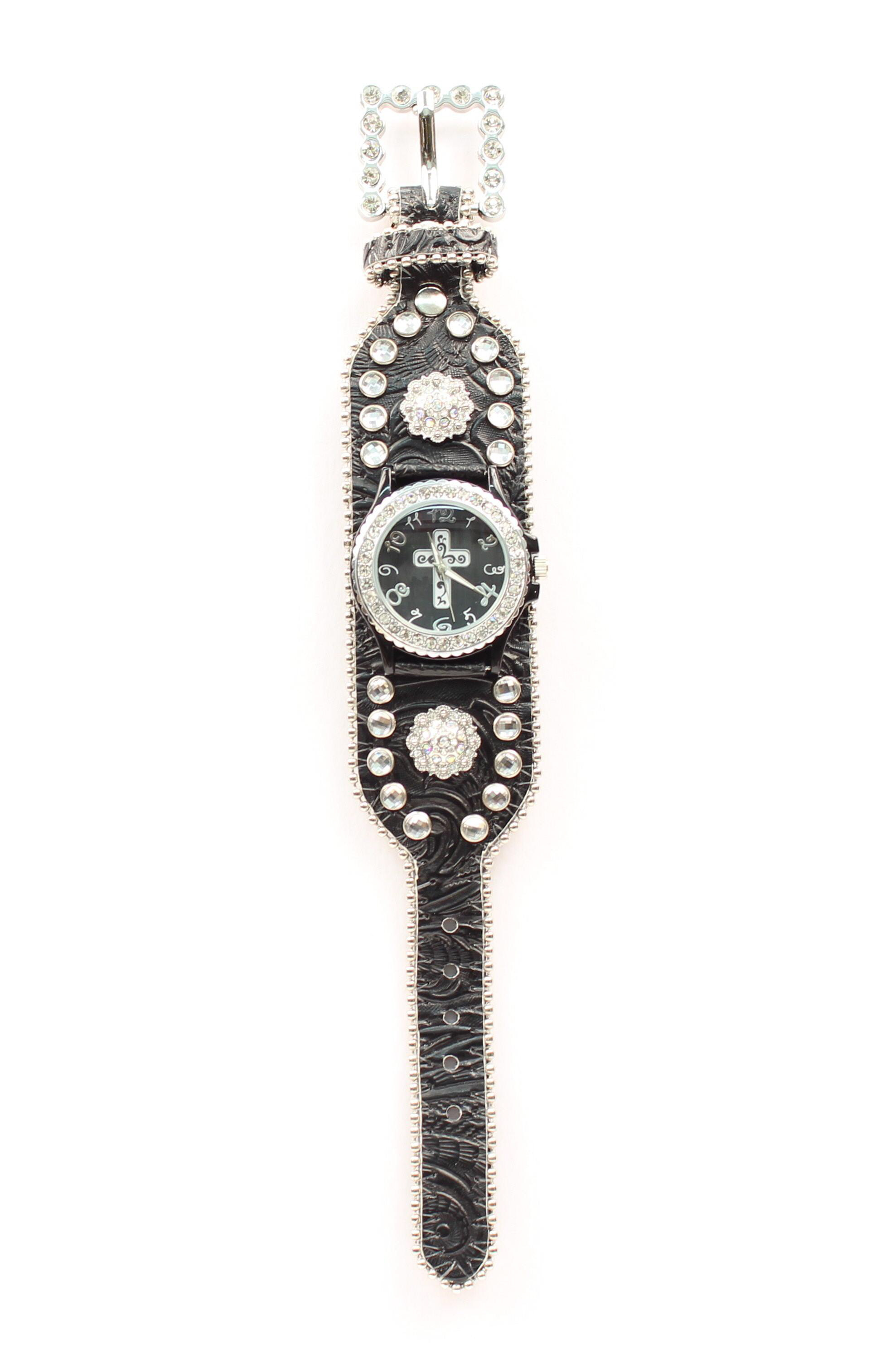 Blazin Roxx Women's Crystal Cross and Concho Watch