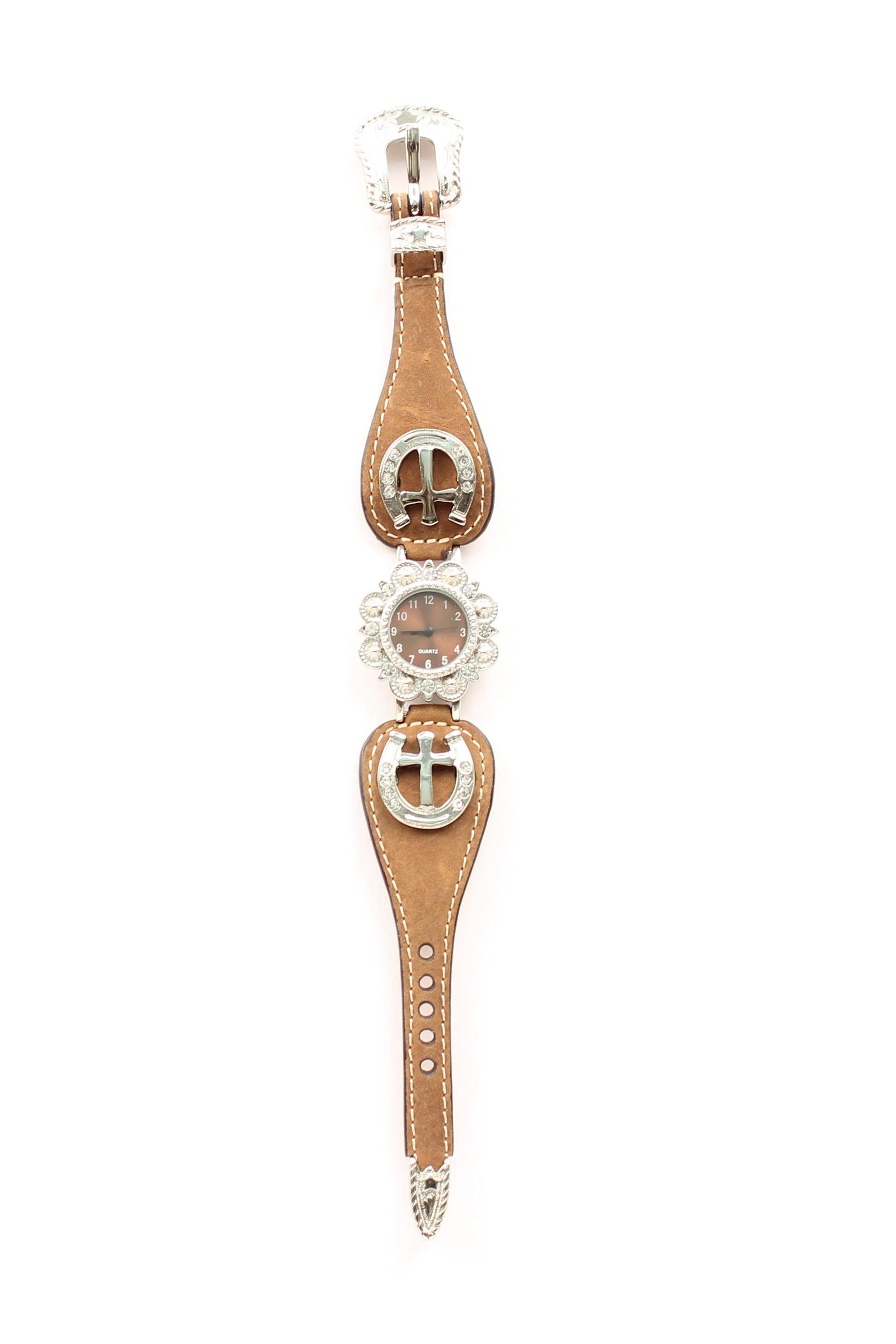 Blazin Roxx Women's Scallop Horseshoe Cross Watch