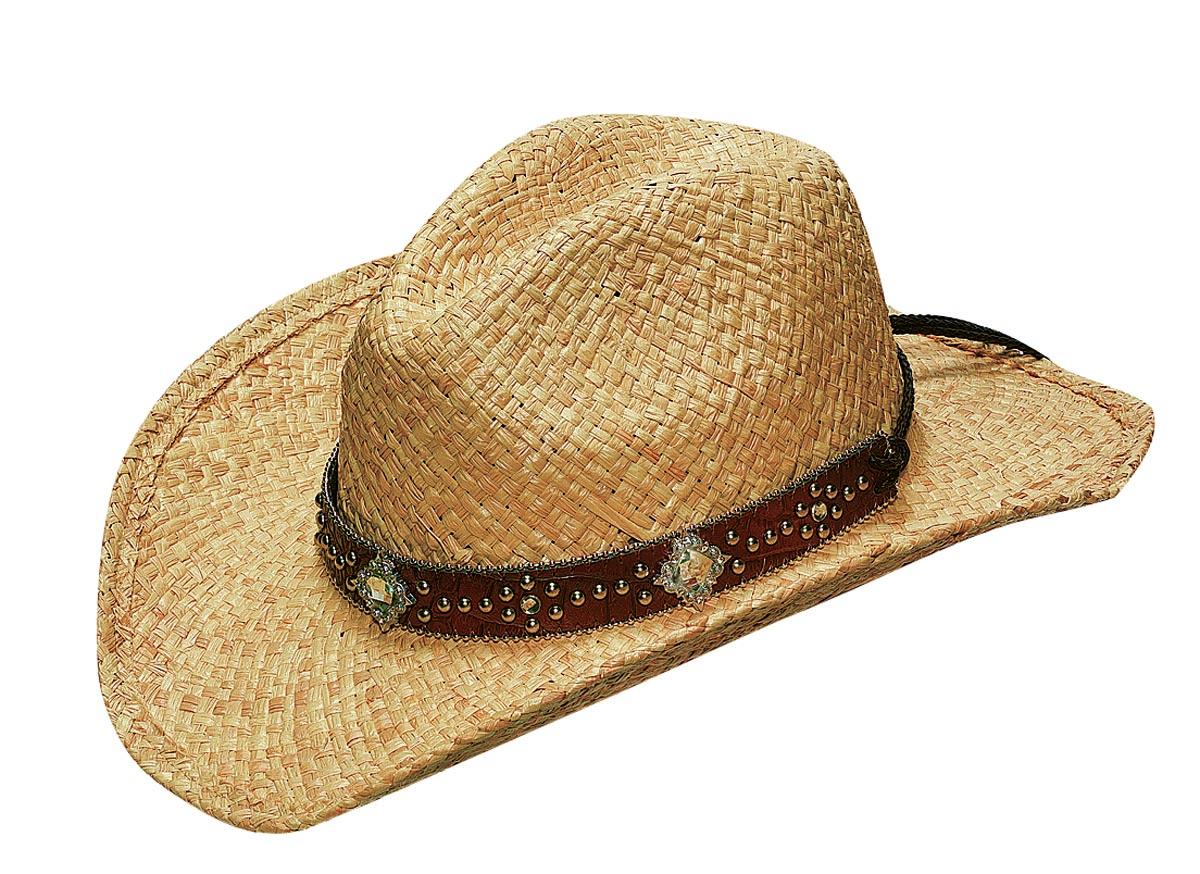 Blazin Roxx Raffia Hat with Crystal Diamond Conchos