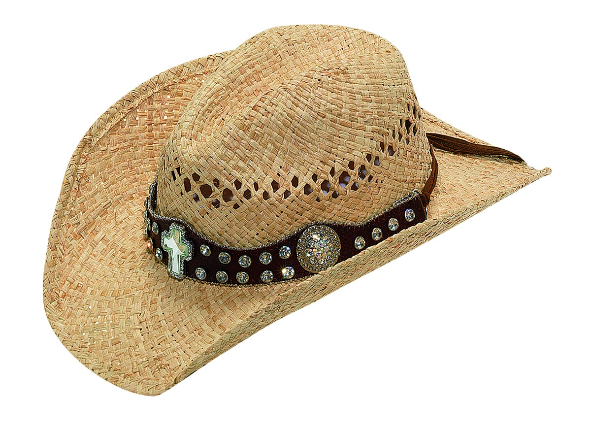 Blazin Roxx Raffia Cross Concho Hat