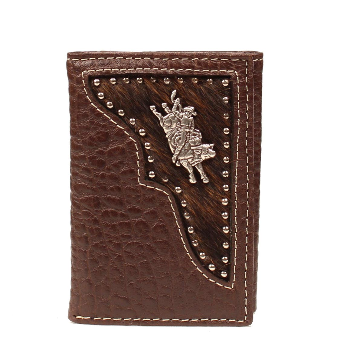 PBR Tri-fold Hair Inlay Bull Rider Wallet