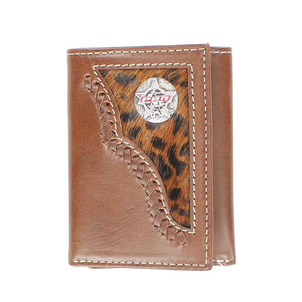 PBR Tri-fold Leopard Hair Bull Rider Wallet
