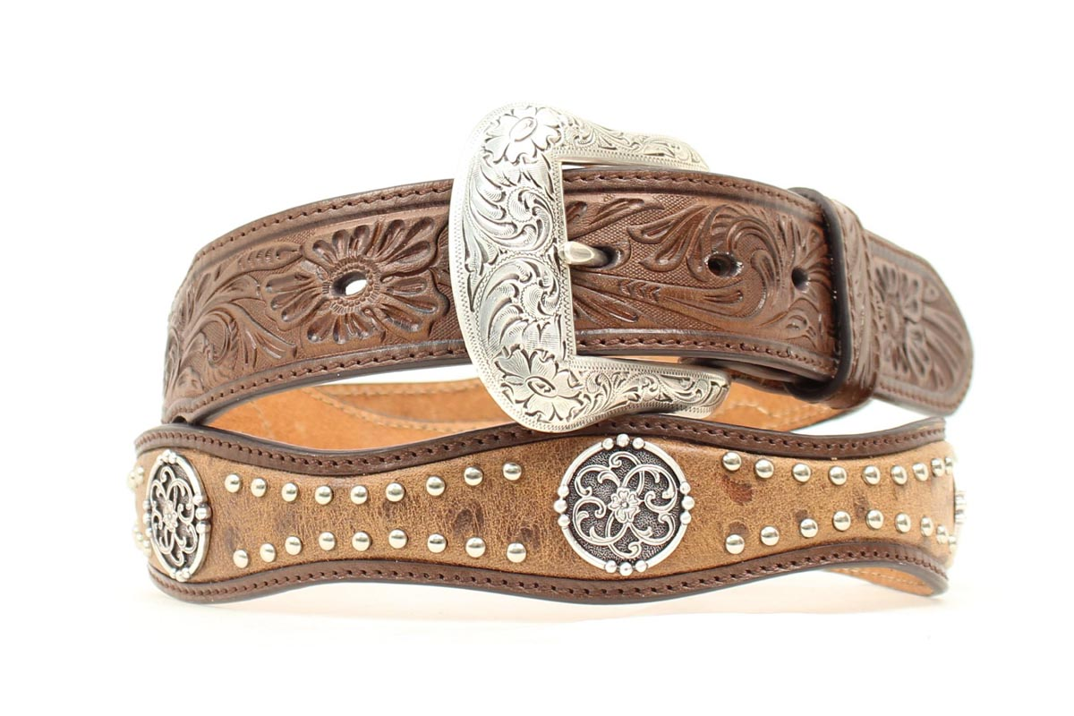 Nocona Mens Scallop Filigree Stud Concho Belt