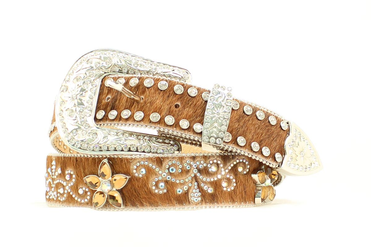 Nocona Calf Hair Floral Scroll Bling Belt
