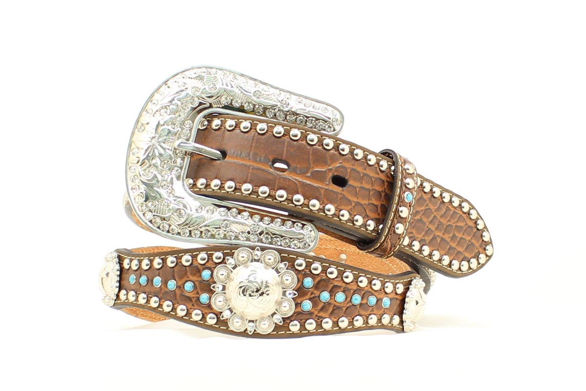 Nocona Gator Scallop Cross Concho Belt