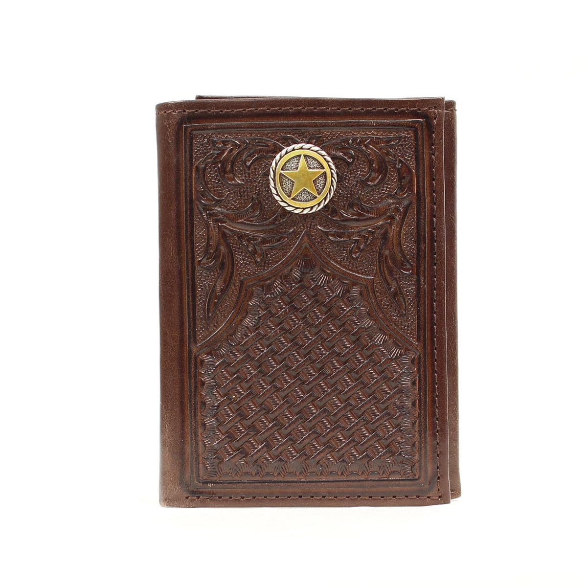 Nocona Tri-fold Tooled Lonestar Concho Wallet