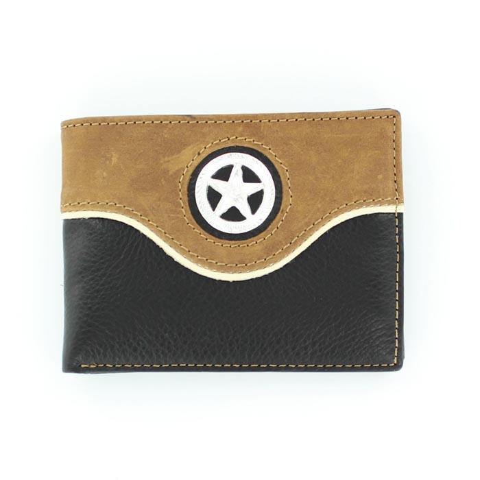 Nocona Nylon Bi-fold Overlay Star Concho Wallet