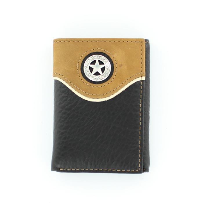 Nocona Nylon Tri-fold Overlay Star Concho Wallet