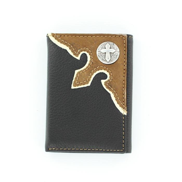 Nocona Nylon Tri-fold Overlay Cross Concho Wallet