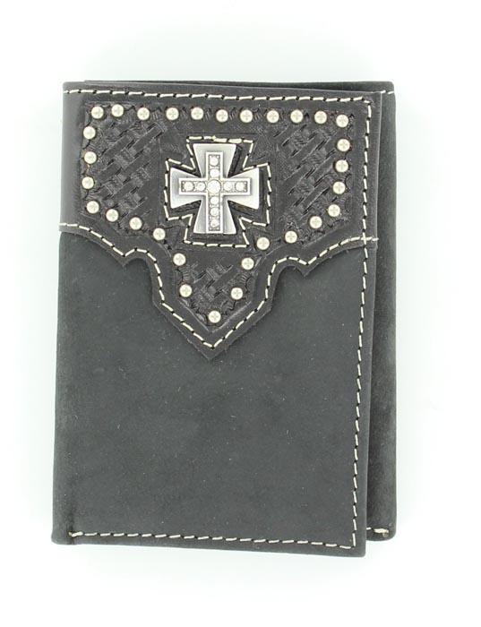 Nocona Tri-fold Basketweave Maltese Cross Wallet