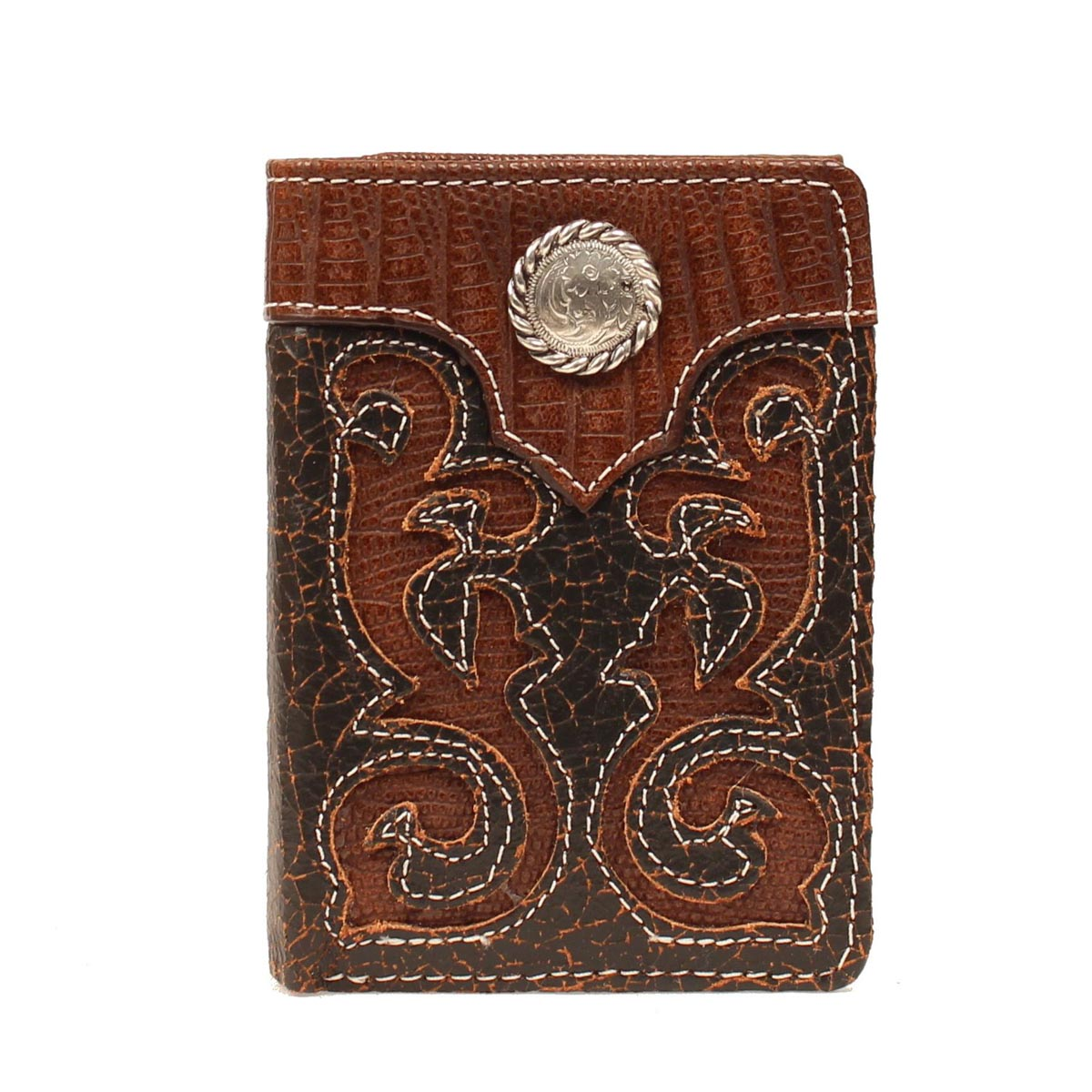 Nocona Mens Tri-fold with Pierced Lizard Overlay