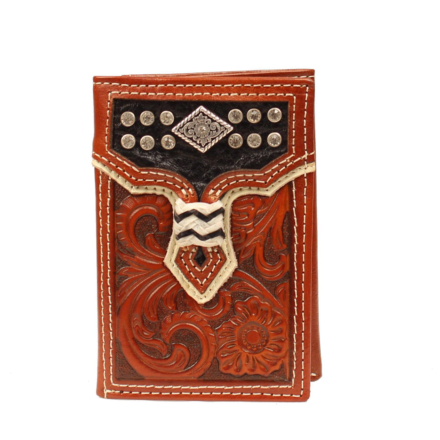 Nocona Tri-fold Floral Crystal & Concho Wallet