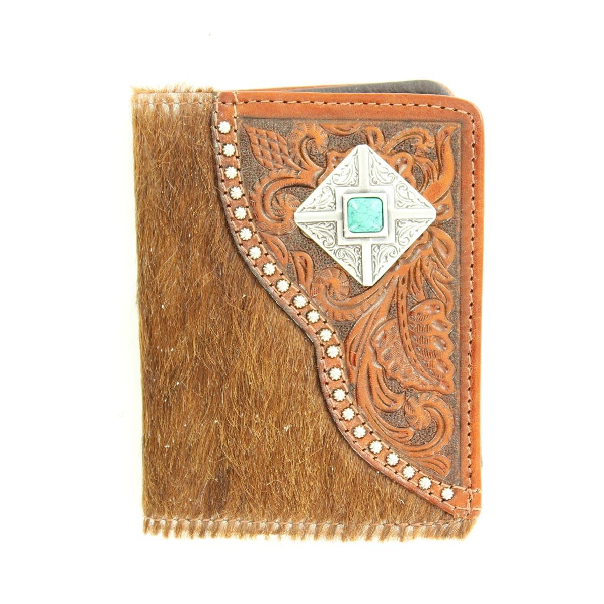 Nocona Bi-fold Tooled Hair & Diamond Concho Wallet
