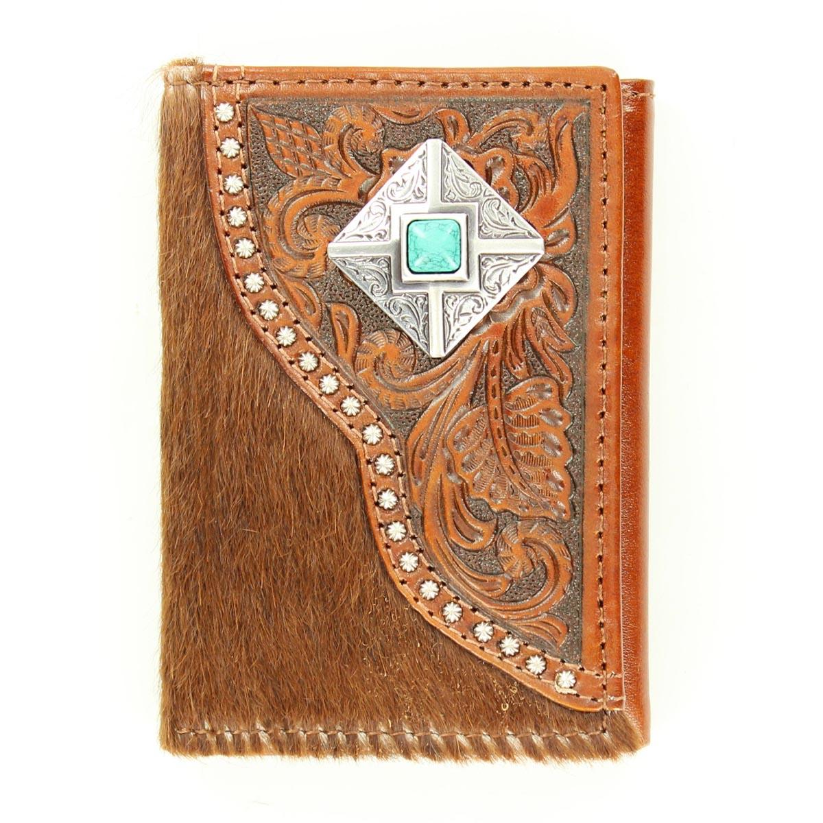 Nocona Tri-fold Tooled Hair & Diamond Concho Wallet