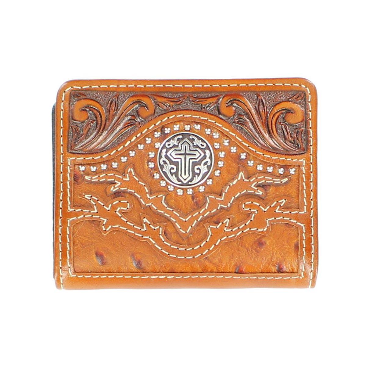 Nocona Bi-fold Ostrich Cross Concho Wallet