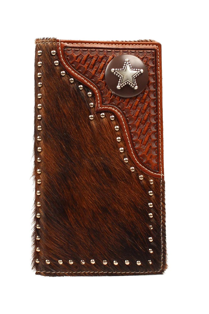 Nocona Rodeo Hair/Tooled Star Concho Wallet