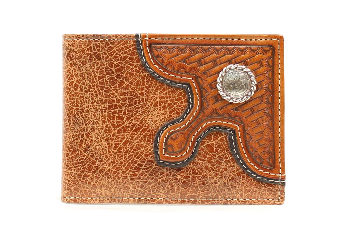 Nocona Bifold Basketweave Overlay Concho Wallet