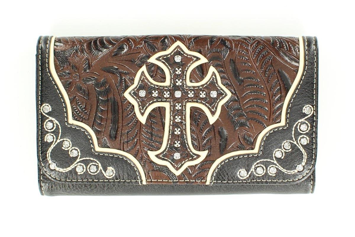 Blazin Roxx Cross Overlay Tooled Wallet