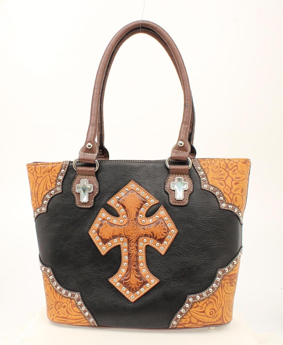 Blazin Roxx Tooled Cross Tote Handbag