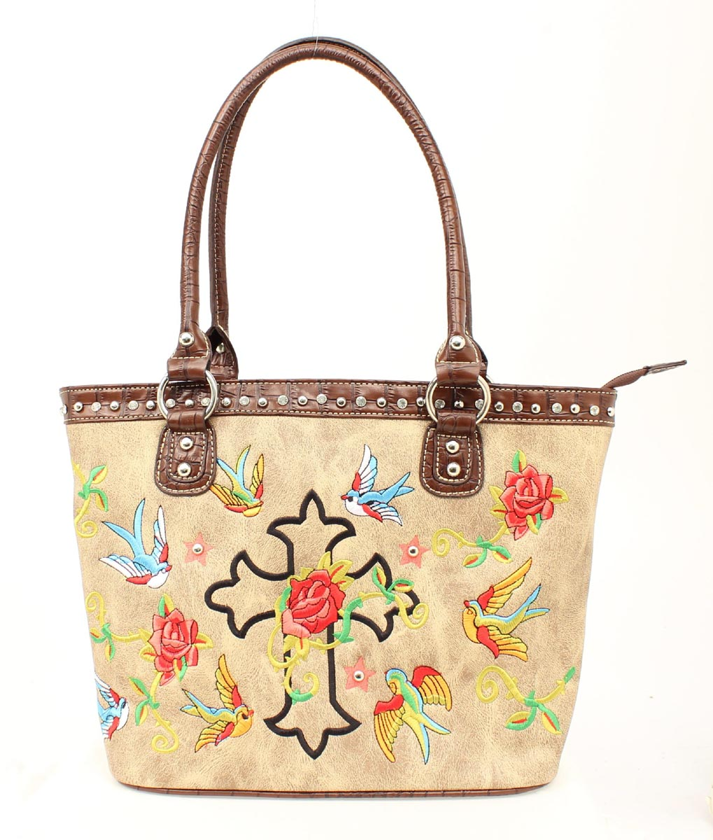 Blazin Roxx Cross and Roses Handbag Tote