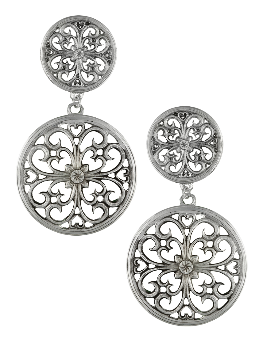 Montana Silversmiths Antiqued Floral Lattice Dual Circle Drop Earrings