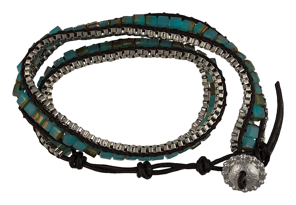 Montana Silversmiths Black Leather Wrap Bracelet with Square Turquoise Beads