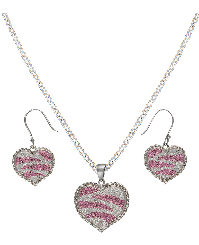 Montana Silversmiths Candied Collection Hearts with Pink Zebra Stripes Jewelry Set