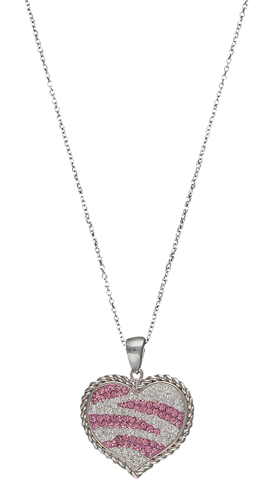 Montana Silversmiths Candied Collection Hearts with Pink Zebra Stripes Necklace