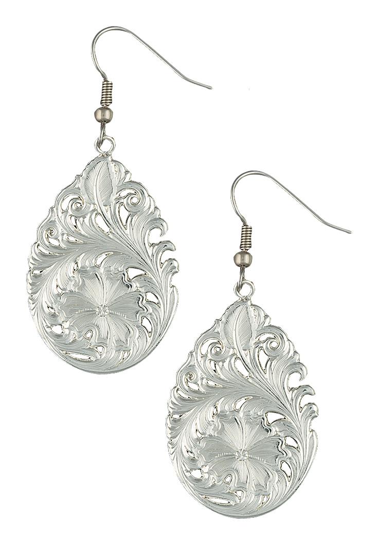 Montana Silversmiths Downy Flower Teardrop Earrings