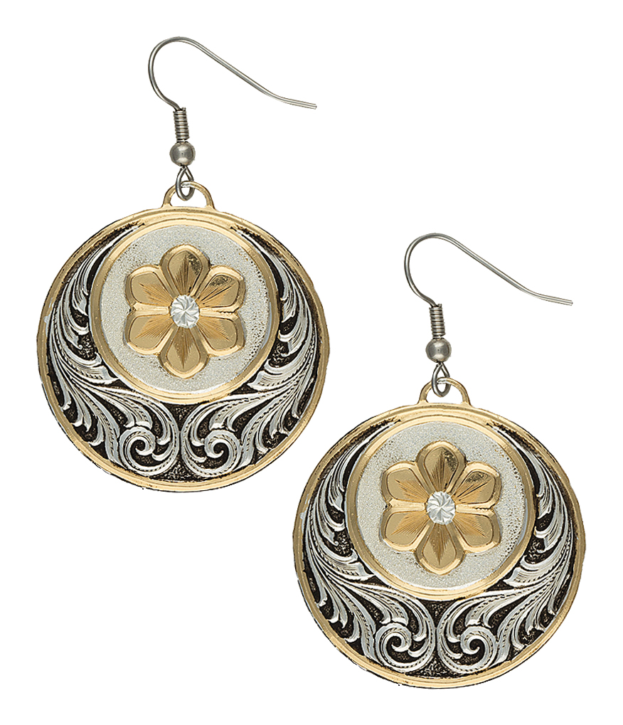 Montana Silversmiths Heirloom Gold Daisy Patch Earrings