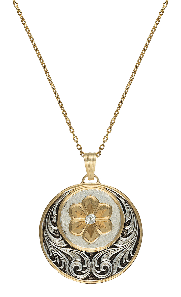 Montana Silversmiths Heirloom Gold Daisy Patch Necklace