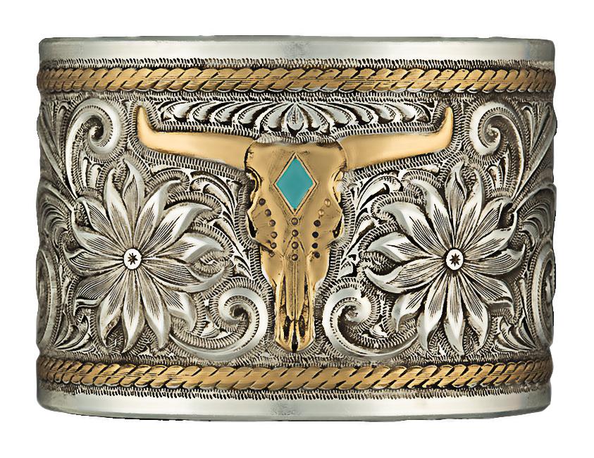 Montana Silversmiths Heirloom Gold Longhorn Garden Cuff Bracelet