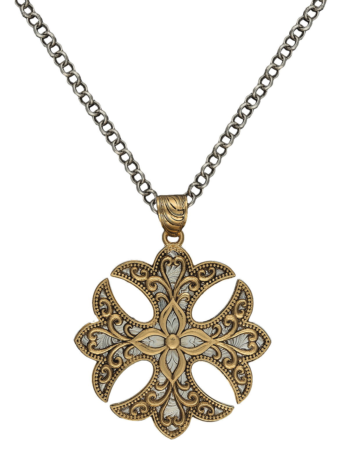 Montana Silversmiths Heirloom Gold Western Lace Cross Fleury Necklace