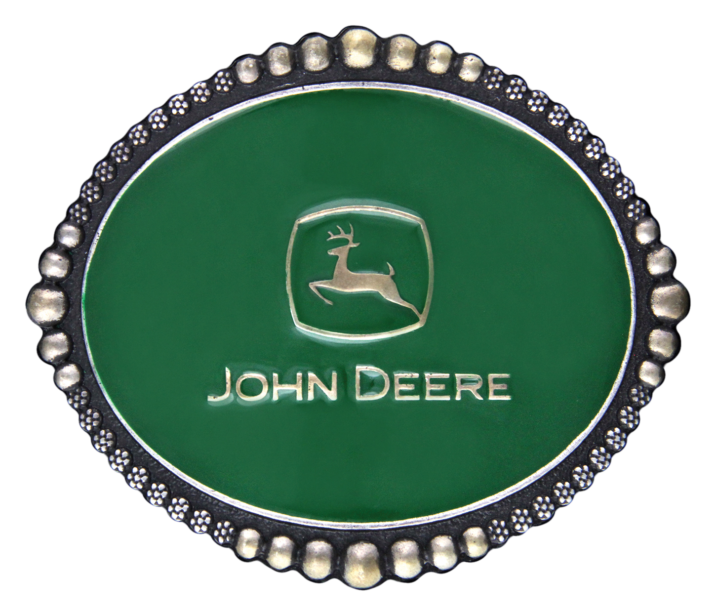 Montana Silversmiths John Deer Classic Green Attitude Buckle with Beads and Berry Trim