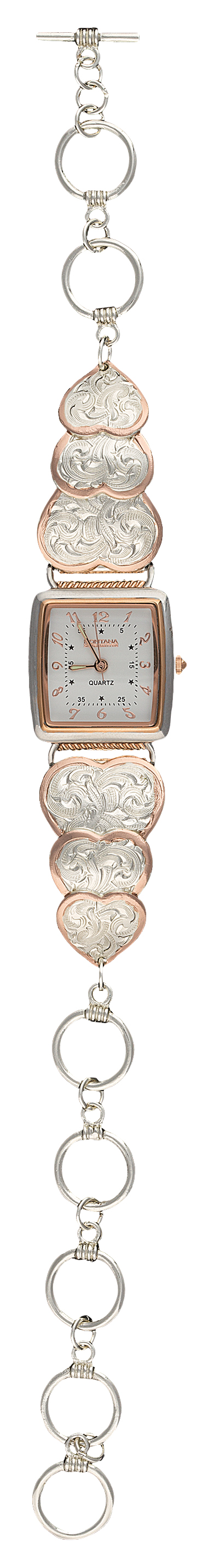 Montana Silversmiths Rose Gold Classic Hearts Band Watch