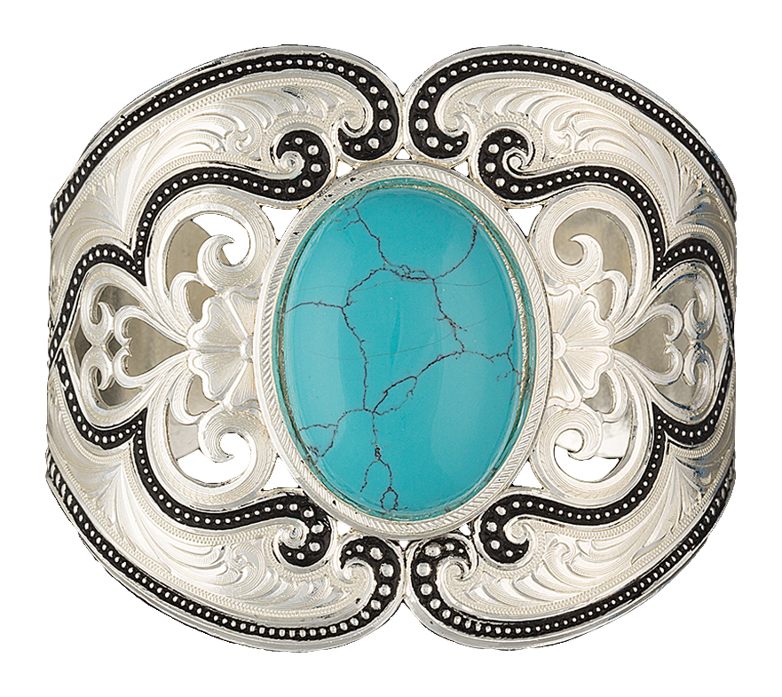 Montana Silversmiths Silver Pinpoints and Western Lace Cuff Bracelet with Turquoise