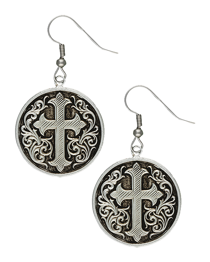 Montana Silversmiths Silver-tone Antiqued Cross Fleury Concho Earrings