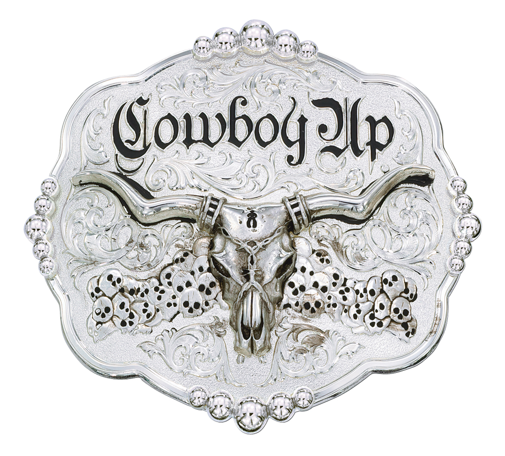 Montana Silversmiths Skulls Cowboy Up Scalloped Western Belt Buckle