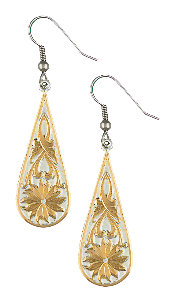 Montana Silversmiths Two-Tone Bitterroot Drops Earrings