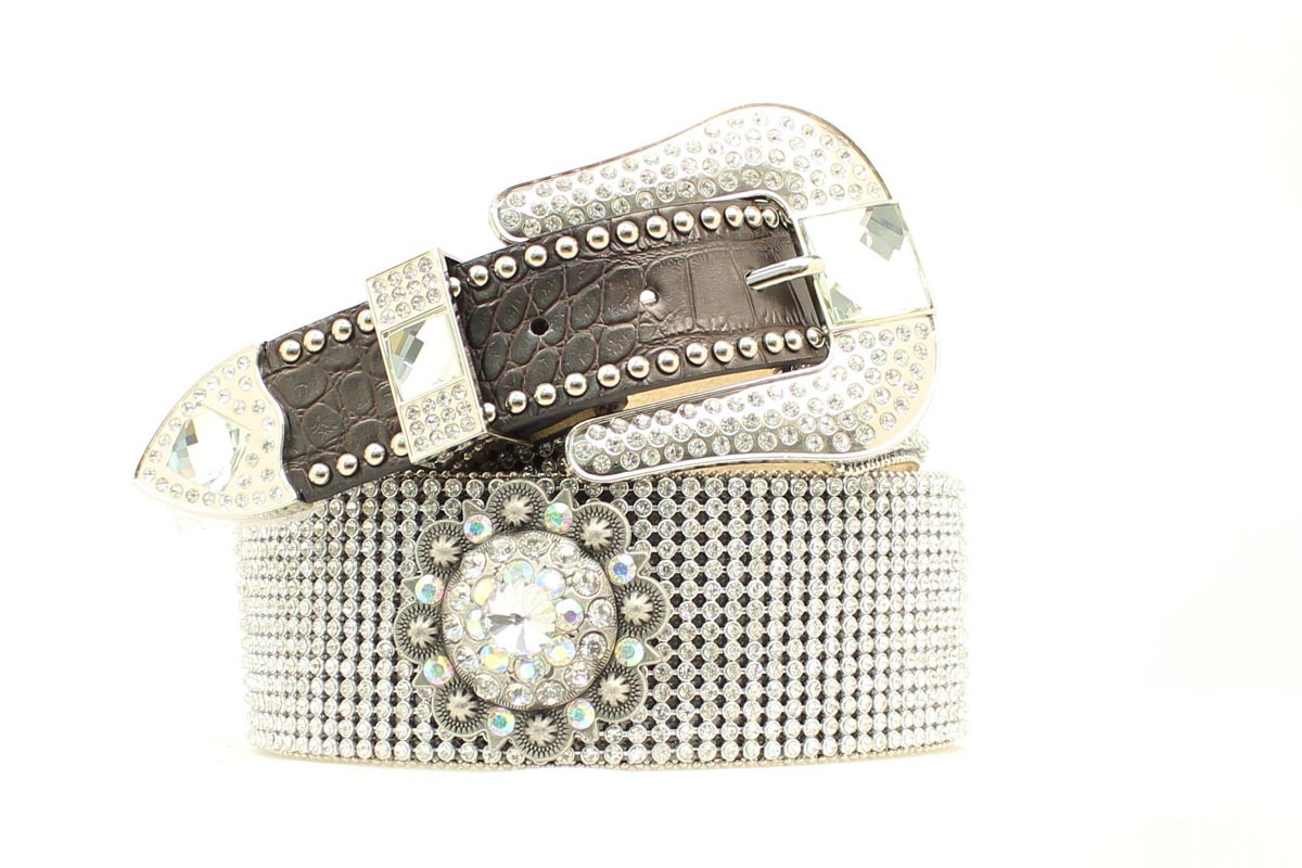 Nocona Wide Crystal Mesh Concho Belt