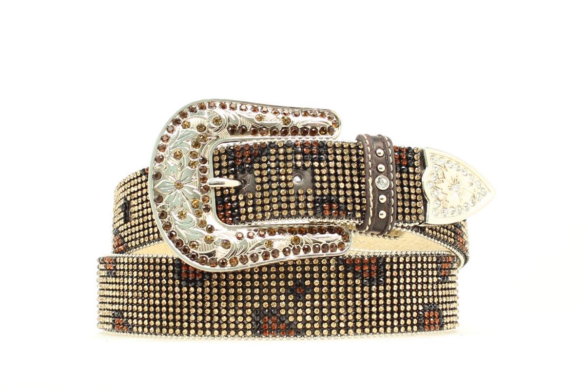 Nocona Leopard Crystal Mesh Belt