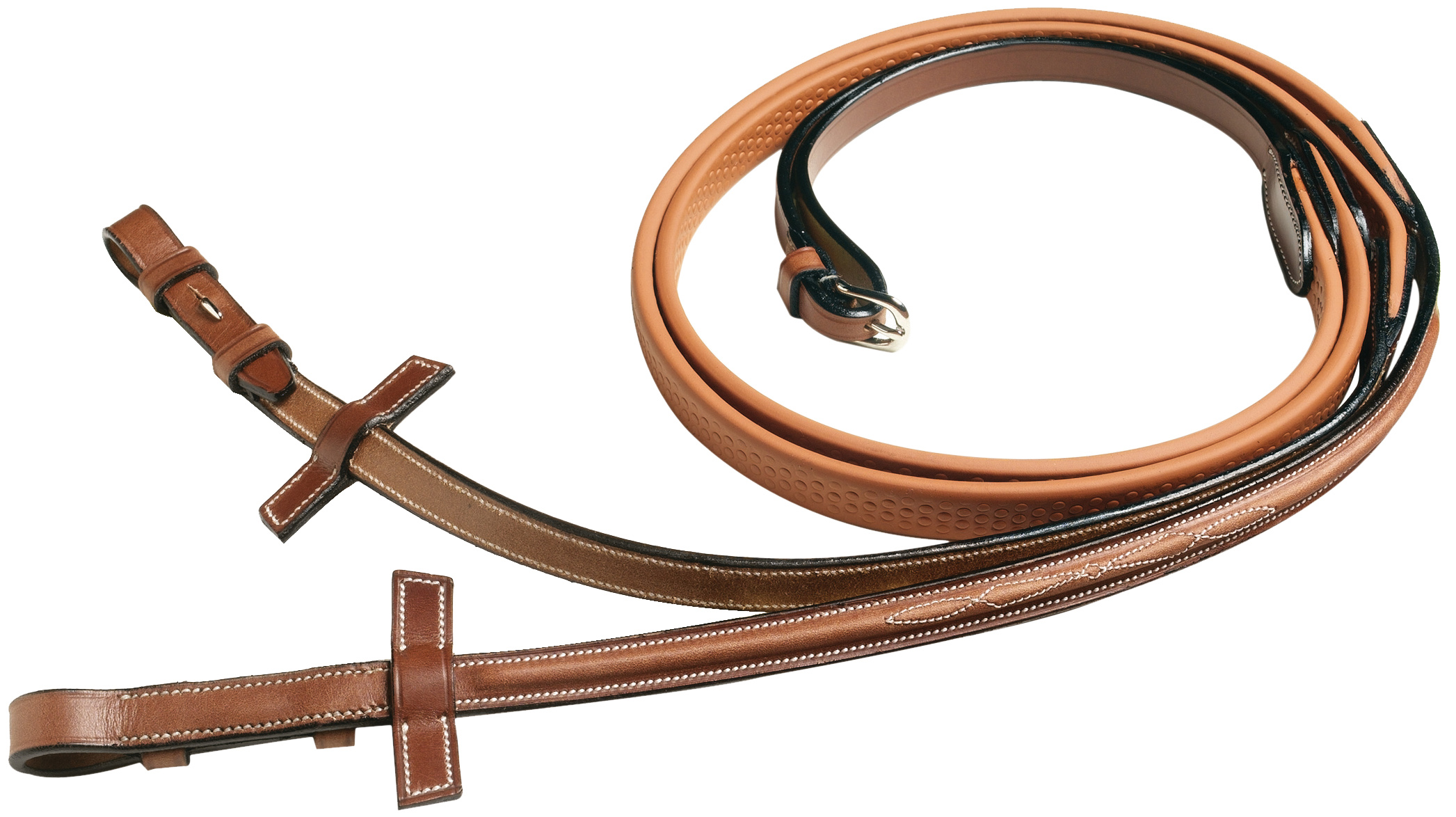 Pessoa Legacy Raised Stitched Biothane/ Rubber Covered Reins