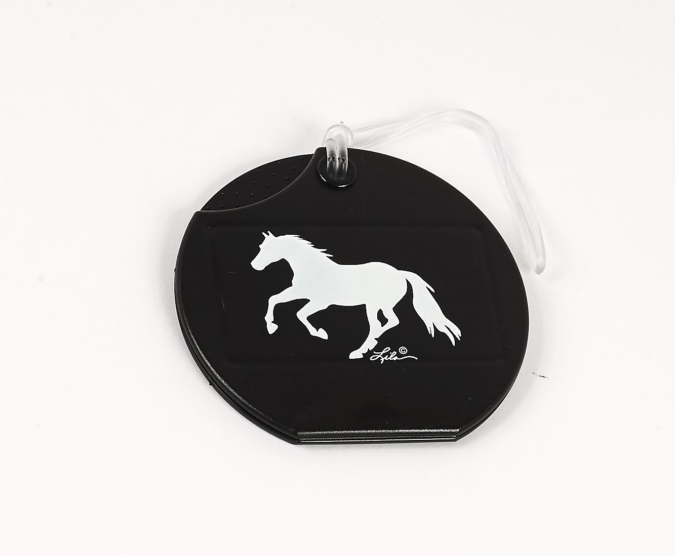 Lila Plastic Luggage Tag with Galloping Horse