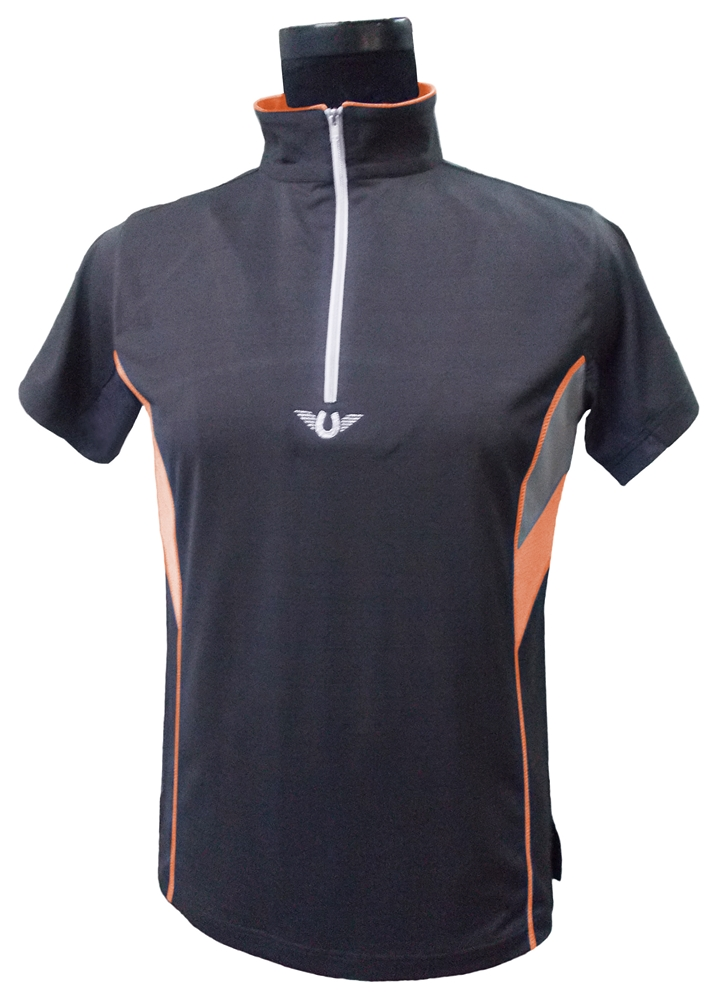 TuffRider Neon Ventilated Mock Zip SS Shirt